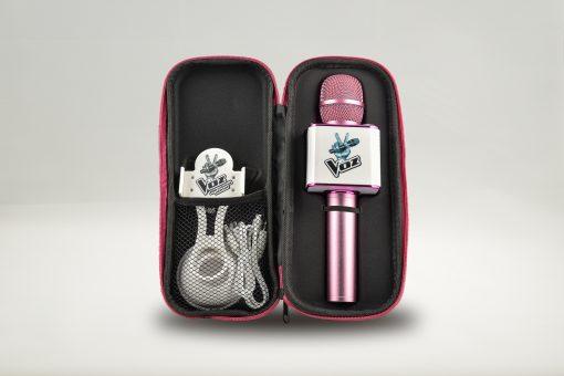 Contenido del kit del Micro Karaoke rosa y blanco de La Voz de Antena 3