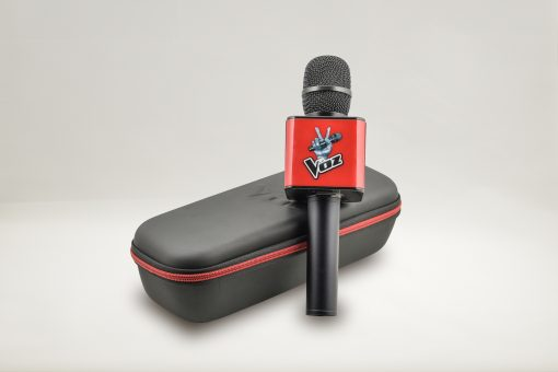 Micrófono Karaoke Oficial del programa La Voz de Antena 3 negro y rojo con estuche