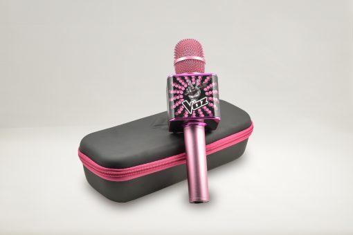 Micrófono Karaoke Oficial del programa La Voz de Antena 3 color rosa con estuche