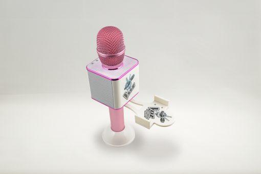 Soporte para el móvil smartphone el Micro de La Voz rosa y blanco