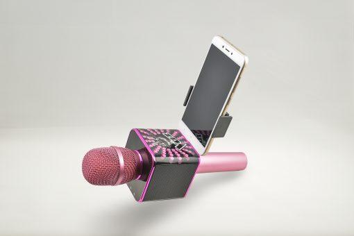 Soporte para el móvil smartphone el micrófono de La Voz de Antena 3 rosa