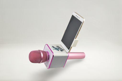 Soporte para el móvil smartphone el micrófono de La Voz de Antena 3 rosa y blanco